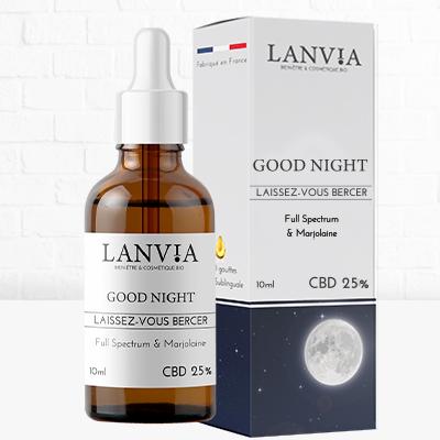 Good Night huile sublinguale 25% CBD spectre complet et extrait naturel de marjolaine à coquille