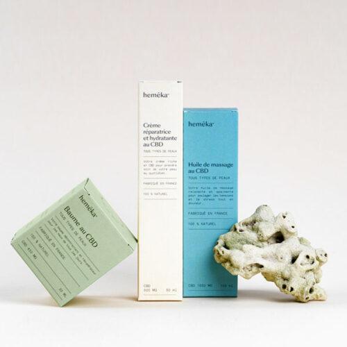 Coffret TRIO Cosmétiques CBD : Baume + Huile + Crème   Saveurs CBD x Hemeka   CBD Marketplace